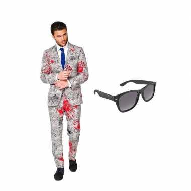 Goedkope zombie heren kostuum maat (xxxxl) gratis zonnebril