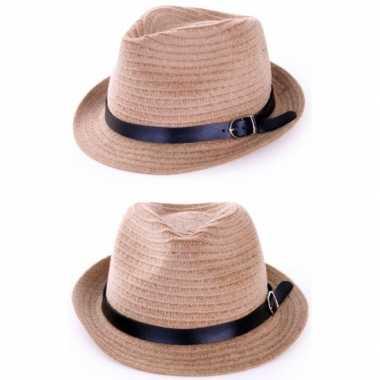 Goedkope zomer hoed zwart riempje