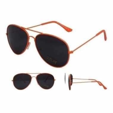 Goedkope zonnebril neon oranje zwarte glazen volwassenen