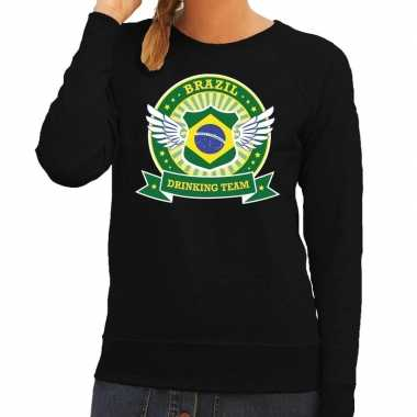 Goedkope zwart brazil drinking team sweater dames