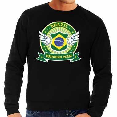 Goedkope zwart brazil drinking team sweater heren