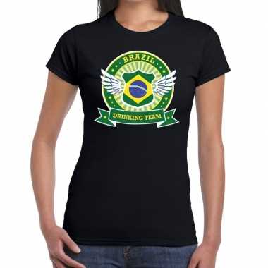 Goedkope zwart brazil drinking team t shirt dames