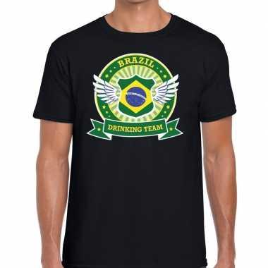 Goedkope zwart brazil drinking team t shirt heren