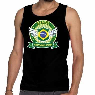 Goedkope zwart brazil drinking team tanktop / mouwloos shirt heren