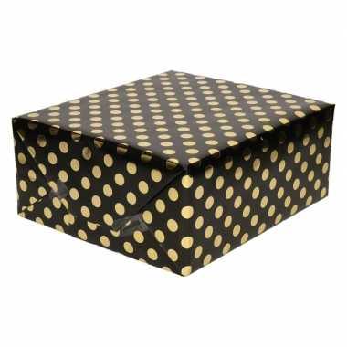 Goedkope zwart folie inpakpapier/cadeaupapier gouden stip