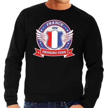 Goedkope zwart france drinking team sweater heren