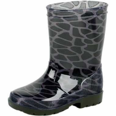 Goedkope zwart/grijze kinder regenlaarzen giraffe vlekken