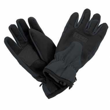 Goedkope zwart/grijze wintersport handschoenen volwassenen