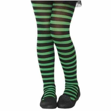 Goedkope zwart/groene verkleed panty kinderen