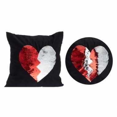 Goedkope zwart kussen rood/witte omkeerbare pailletten