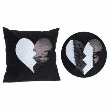 Goedkope zwart kussen zwart/witte omkeerbare pailletten