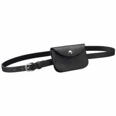 Goedkope zwart mini heuptasje/buideltasje aan riem dames