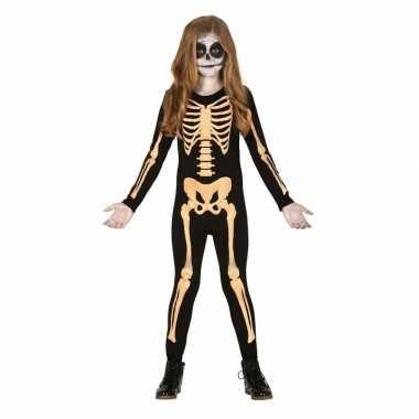 Goedkope zwart/oranje skelet verkleedpak kinderen kostuum
