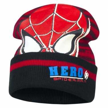 Goedkope zwart/rode spiderman muts jongens
