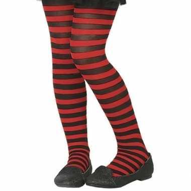 Goedkope zwart/rode verkleed panty kinderen