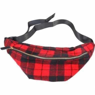 Goedkope zwart/rood geruite heuptasje/buideltasje