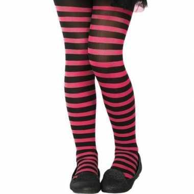 Goedkope zwart/roze verkleed panty kinderen