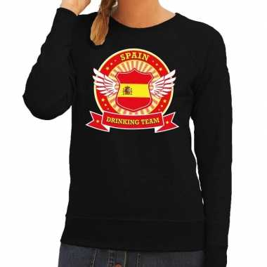 Goedkope zwart spain drinking team sweater dames