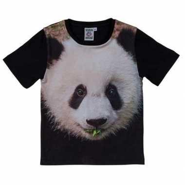 Goedkope zwart t shirt panda beer kinderen