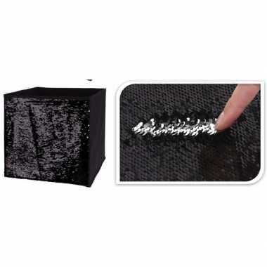Goedkope zwart/zilveren opbergdoos omkeerbare pailletten