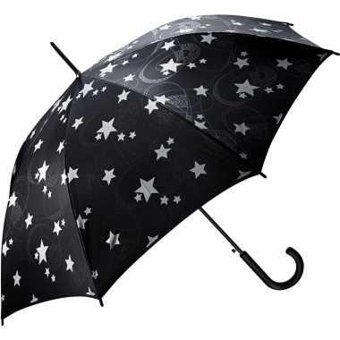 Zwarte automatische paraplu zilveren sterren goedkope