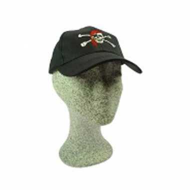 Goedkope zwarte baseballcap piraat