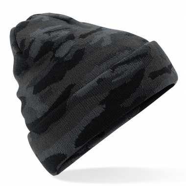 Goedkope zwarte camouflage gebreide wintermuts volwassenen