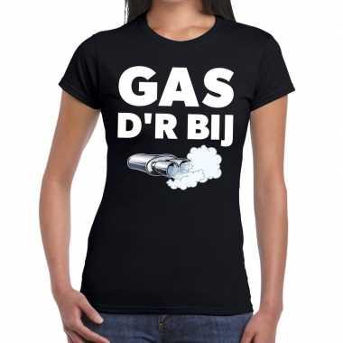 Goedkope zwarte cross gas der bij festival t shirt zwart dames