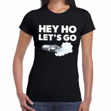 Goedkope zwarte cross hey ho lets go festival t shirt zwart dames