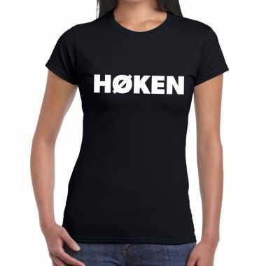 Goedkope zwarte cross hoken festival t shirt zwart dames