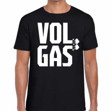 Goedkope zwarte cross vol gas festival t shirt zwart heren