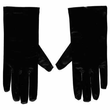 Goedkope zwarte gala handschoenen kort satijn