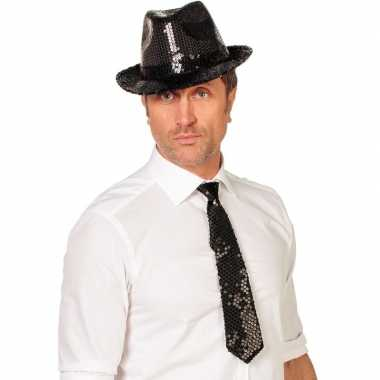 Goedkope zwarte glitter stropdas verkleedaccessoire dames/heren