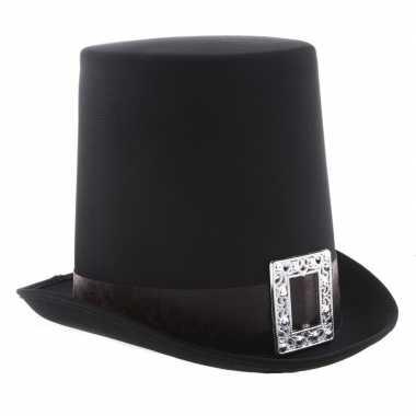 Goedkope zwarte halloween hoge hoed gesp volwassenen