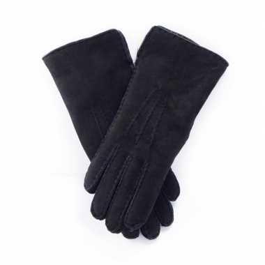 Goedkope zwarte lammy handschoenen suede volwassenen
