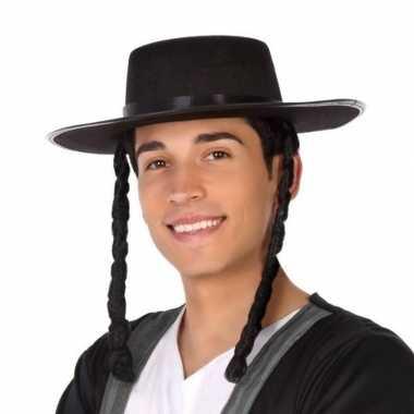 Goedkope zwarte orthodoxe jood verkleed hoed heren
