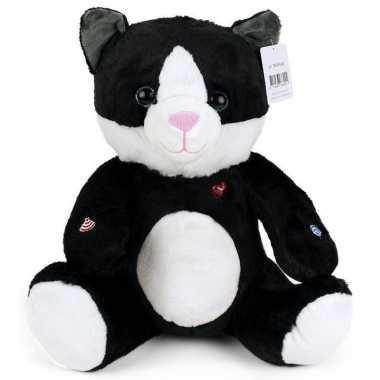 Goedkope zwarte pluche kat/poes knuffel
