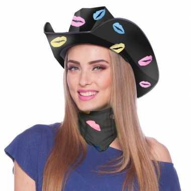 Goedkope zwarte sjaaltje/bandana lippen/kusjes dames
