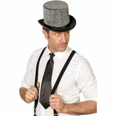 Goedkope zwarte stropdas verkleedaccessoire dames/heren