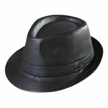 Goedkope zwarte trilby hoed lederlook volwassenen