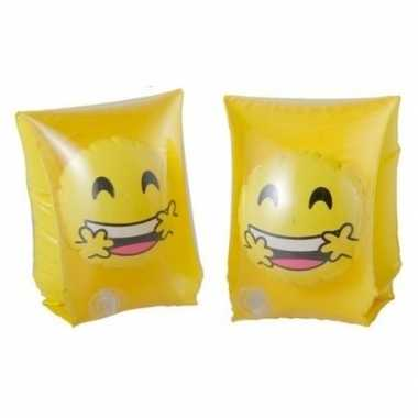 Goedkope zwembandjes/zwemvleugels smiley geel