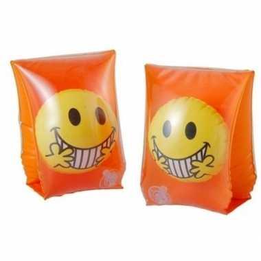 Goedkope zwembandjes/zwemvleugels smiley oranje