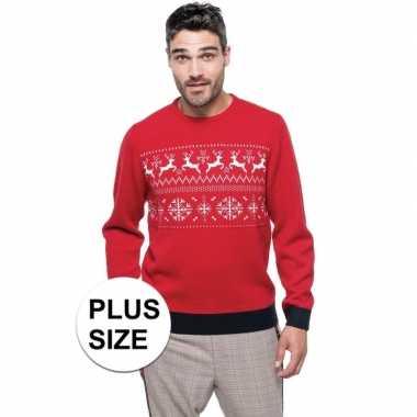 Grote maten foute kersttrui rood noorse goedkope heren