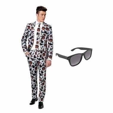 Halloween goedkope heren kostuum maat (m) gratis zonnebril