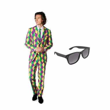 Harlekijn goedkope heren kostuum maat (s) gratis zonnebril