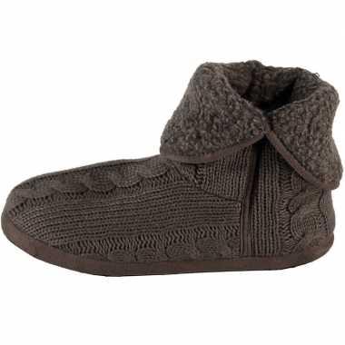 Heren hoge pantoffels/sloffen gebreide kabelgoedkope grijs