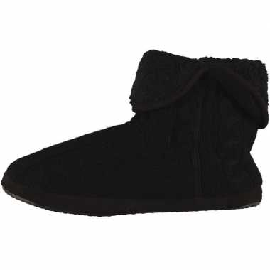 Heren hoge pantoffels/sloffen gebreide kabelgoedkope zwart