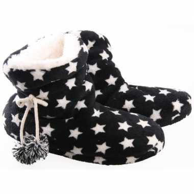 Hoge dames pantoffels/sloffen sterren goedkope zwarte