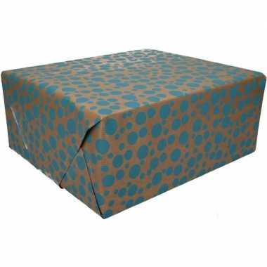 Inpakpapier bruin blauwe stippen goedkope rol