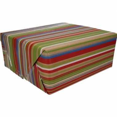 Inpakpapier bruin gekleurde strepen goedkope rol